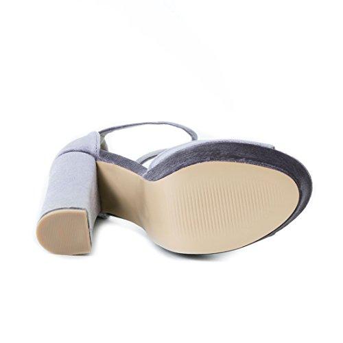 Damen Plateau Sandaletten High Heels in Samtoptik mit Blockabsatz Grau