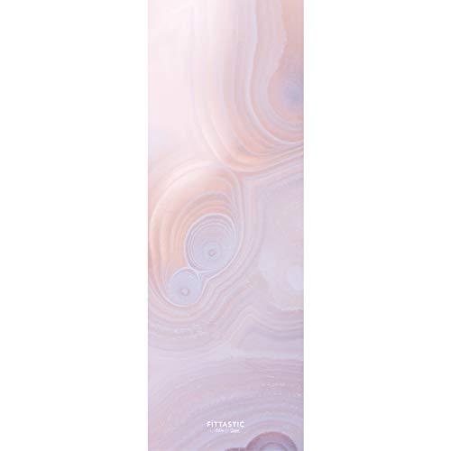 Fittastic All-in-One Travel Yogamatte dünn, leicht und rutschfest - Naturkautschuk - schadstofffrei - Gymnastik-Matte - 1 mm - 180 x 61 cm (Pink Crystal)