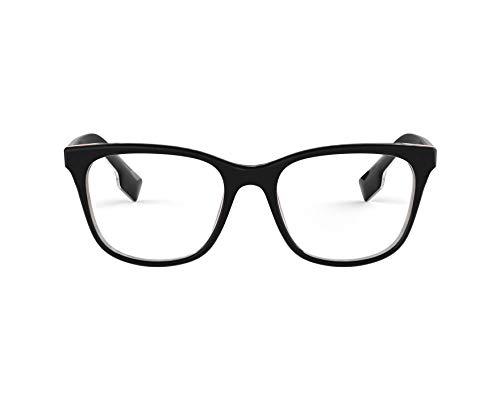 BURBERRY Brille (BE-2284 3764) Acetate Kunststoff glänzend schwarz - metalisiert silber (Brille Burberry Schwarz)