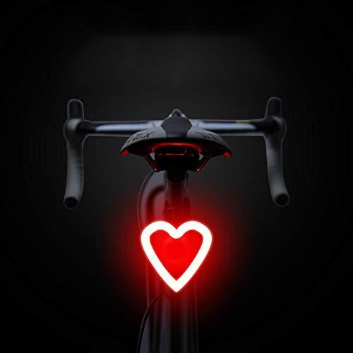fuchsiaan USB wiederaufladbare Mountain Road Fahrrad LED Rücklicht, Runde Knochen Herz Dreieck Warnung Slot Form, Nacht Sicherheit Lampe für Radfahren, Mountainbike, Männer, Frauen, Kinder 3#