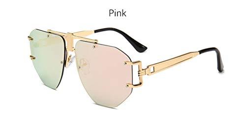 Cranky Orange Vintage Spiegel Sonnenbrille Damen Pilotenbrille Übergroße Randlose Transparente Markendesigner Herren Sonnenbrille modisch Weiblich, Pink