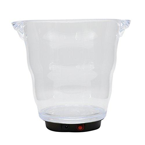 Gazechimp 4L LED Eiswürfelbehälter, Flaschenkühler, Eiskübel, Einseimer, Weinkühler, Eiskühler mit USB Kabel für Party, Abendessen, BBQ usw. ( 20x 22x 23,5cm ) - Weiß