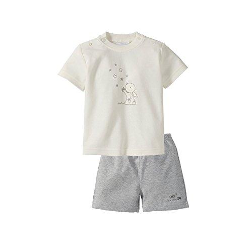 BORNINO Schlafanzug kurz Baby-Pyjama Baby-Nachtwäsche, Größe 86/92, grau