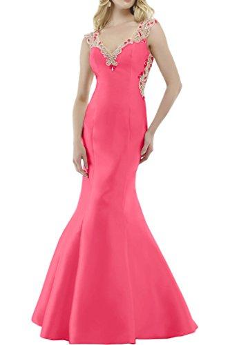 Royaldress Dunkel Blau Satin Lang Abendkleider Brautjungfernkleider Jugendweihe Kleider mit Spitze Wassermelon