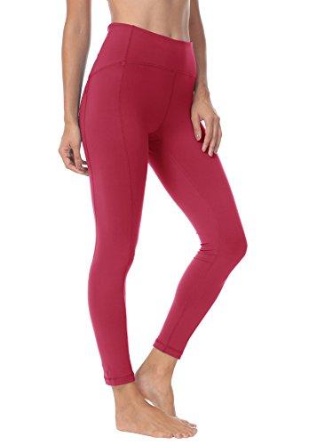 Queenie KE Leggings da Yoga da Donna Nine Pants Forza Calzamaglia da Ginnastica Flessibile A Vita Alta Colore Vino Rosso Taglia L