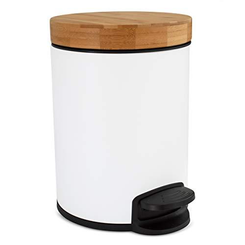 Cubo de baño de diseño 5L | Tapa de Madera de bambú con Sistema de Cierre automático |...