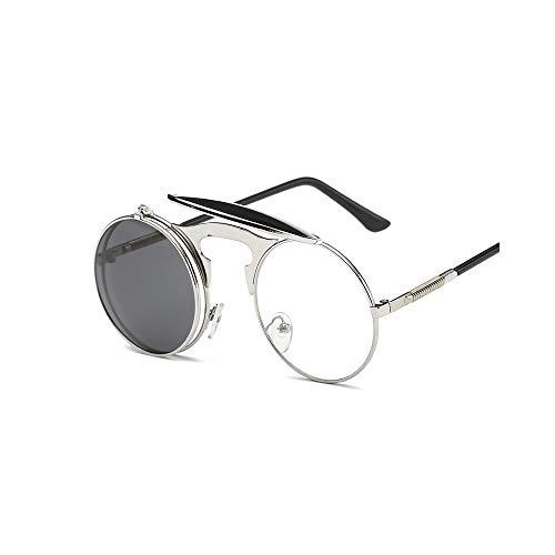 WJMLHLKK Flip Up Steampunk Sonnenbrille Runde Sonnenbrille Designer Metall Retro Männer Frauen Flat Top Clamshell Goggles