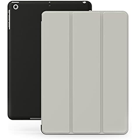 KHOMO Funda iPad Air 1 - Carcasa Gris y Negra Protectora Ultra Delgada y Ligéra con Smart Cover y Soporte para Apple iPad Air 1 - Grey and Black