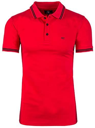Rock Creek Herren Polo T-Shirts Basic Shirt Kurzarm Poloshirt Polohemd Slim Fit Sommer Shirts Männer T Shirt Top Polokragen H-177 Rot 3XL (Männer Kurzarm-t-shirt)