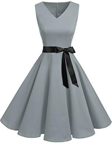 bridesmay 1950er V-Ausschnitt Kleid Vintage Cocktailkleid Rockabilly Retro Schwingen Kleid Faltenrock Grey S (Plus Size Polka Kleider Dot)