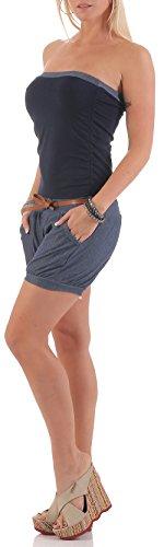 malito court Jumpsuit dans le Jeans Design Couleurs uni 9640 Femme Taille Unique bleu foncé
