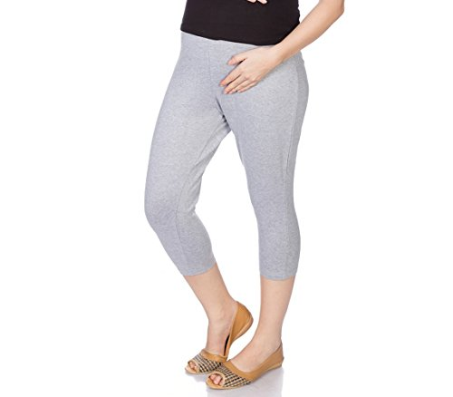Goldstroms Women's Maternity Capri (Grey Melange, Large)