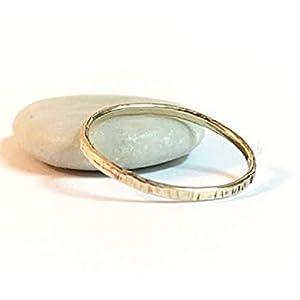 FloweRainboW Dünner Trauring 585 Gold Gehämmert und Texturiert – Hochzeitsring/Ehering/Verlobungsring – Damen/Männer