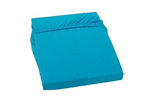 S.Ariba Soft Comfort Baumwolle Jersey-Stretch Spannbettlaken, Größen, Aqua 140x200cm bis 160x200cm
