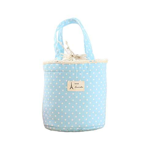 Wanshop ® borsa termica porta-pranzo in tela impermeabile borsa per picnic per portare cibo in viaggio, a scuola, in ufficio, a pranzo in bella tela, per adulti, bambini (blu)