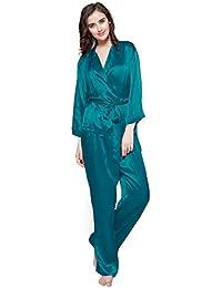 LILYSILK Ensemble de Pyjama Femme en Soie de Mûrier Top Manches Longues Col  Chemise Pantalon Fluide avec… 92ec7bbe194a
