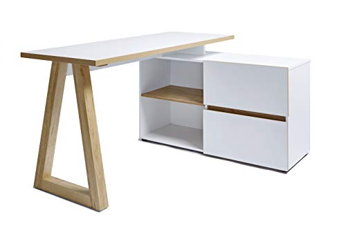 Movian - Bureau d'angle de style scandinave à 2 tiroirs