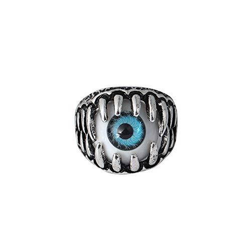 Ogquaton Anillo de ojo de diablo de hombres de calidad premium Cráneo gótico del vintage Dragón Garra Malvados ojos azules/rojos
