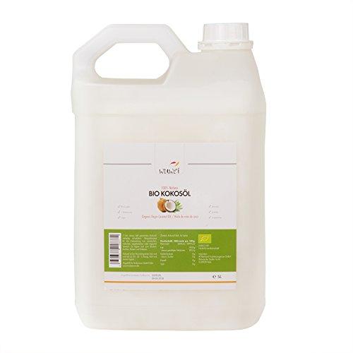 Bio Kokosöl, 100% nativ und kaltgepresst, für cholesterinfreie Ernährung & Ayurveda, vielseitig verwendbar, auch für die Haut und Haare, Massage (hawaiianisch, Lomi Lomi, etc), Premium Kokosnussöl, 5 Liter Kanister