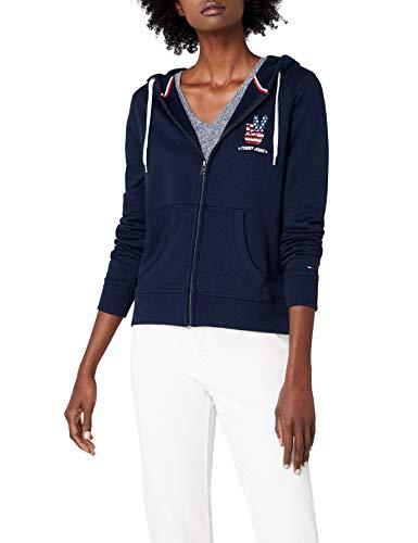Tommy Jeans Damen Logo Zip Hoodie Langarm Sweatshirt Langarmshirt Blau (Black Iris 002) X-Small