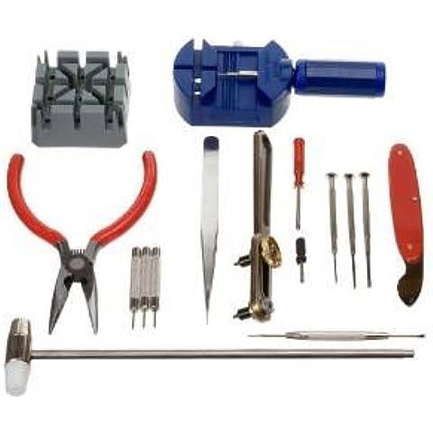 TechCode ® 16 pezzi Deluxe-kit di attrezzi di riparazione per orologio, apribottiglie pin Remover
