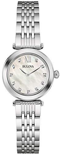 bulova diamond 96w206 - orologio design in acciaio inox, donna, quadrante in madreperla
