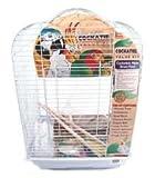 Penn-Plax Nymphensittiche Vogelkäfig Starter Kit, 68,6cm Käfig Scallop Design mit Spielzeug, Sepiaschalen, behandeln, und Holz Sitzstange