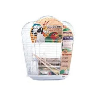 Cockatiel Bird Cage Starter Kit, 27 Inch Cage Scallop Design With Toy, Treat, and Wood Perch 1