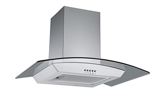 31JQYK5ANgL - Cookology CGL700SS 70cm Curved Glass & Stainless Steel Kitchen Chimney Cooker Hood