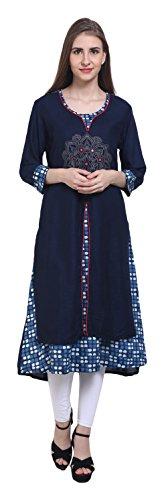 Sketches Women's Cotton Achkan Kurta (APP1035--L, Blue and White, Large)