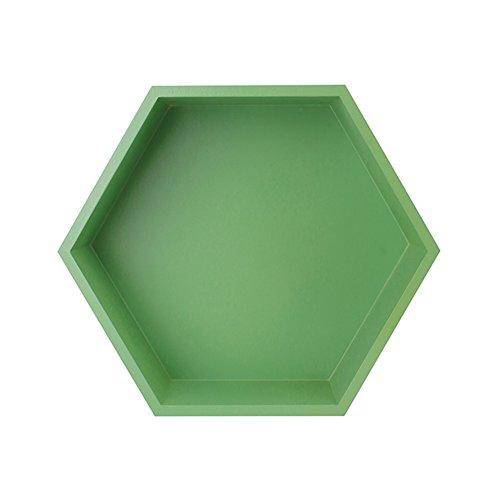 Dongyd Support magnétique créatif en Bois Massif Hexagonal, Support de Rangement pour Perforation, Support de Rangement pour Salon de Chambre à Coucher casier, 27x9x23,5 cm (Couleur : Vert)