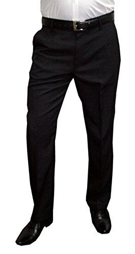Mens Fashion Herren Anzughose mit Bügelfalte, Schwarz, Gr 52