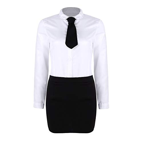 Kostüm Sekretär - Alvivi Damen Sekretärin Kostüm Frauen Sekretär Büro Uniform Kleid Karneval Rollenspiel Verkleidung Fasching Kleidung Weiß Small