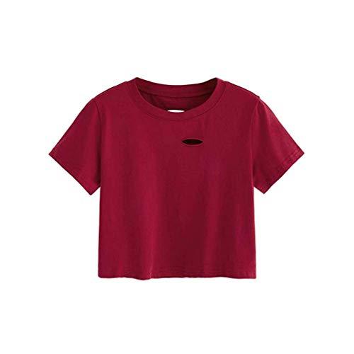 Zegeey Damen T-Shirt Sommer Einfarbig Rundhals Kurzarm Solid Top Lose Loch Basic Tops LäSsige Oberteil Bluse Shirt Mode Tee(Rot,M) Redhead Wrap