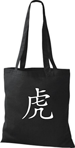 ShirtInStyle Stoffbeutel Chinesische Schriftzeichen Tiger Baumwolltasche Beutel, diverse Farbe black