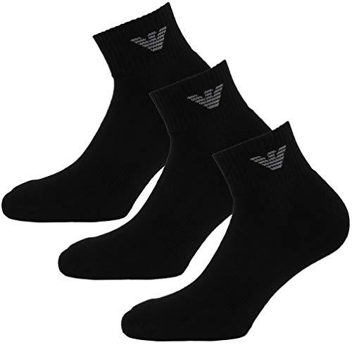 Emporio Armani Socken 3er Pack Knit Socks Sneaker Unisex einfärbig - Farbauswahl: Farbe: Schwarz | Größe: 39-41 (Gr. S)
