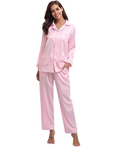 Aibrou Damen Sommer/Frühling Klassische Schlafanzug Satin V-Ausschnitt Zweiteiliges Pyjama Nachtwäsche Set Rosa XXL