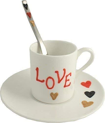 Amore cuori san valentino / love fine porcellana tazza espresso, piattino e cucchiaio gi...
