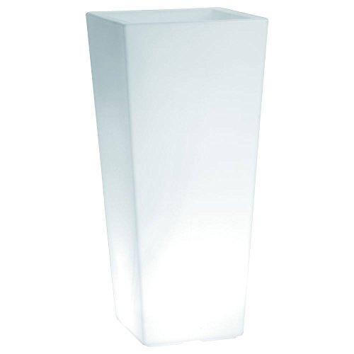 hydroflora 63005500 Maceta luminosa LED Nicoli Eros Light 30 x 30 x 60 cm, ideal para entornos exteriores, blanco frío