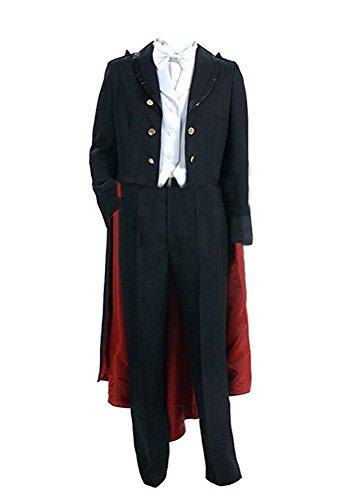 QianQian Herren Magic Anzug Tuxedo Mask Schwarz Kap Cosplay Kostüm (Herren-XS, Schwarz) (Tuxedo Mask Halloween Kostüm)