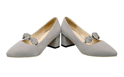 AgooLar Femme à Talon Correct Dépolissement Couleur Unie Tire Chaussures Légeres Gris