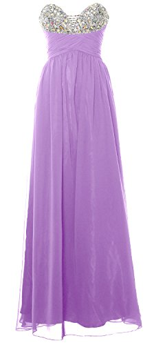 MACloth Women Strapless Long Prom Dress Classic Chiffon Formal Evening Gown Lavendel
