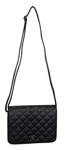 Julio line borsa a tracolla da donna in ecopelle trapuntata con chiusura a girello - borsa a spalla con tasca esterna sul retro con zip