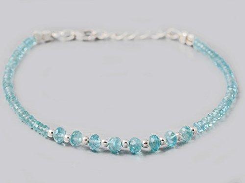 Zierlich Himmel blau Apatit Perlen Armband mit 925 Silber Erkenntnisse 6,50 Zoll handgefertigte (Juwel Kostüme)