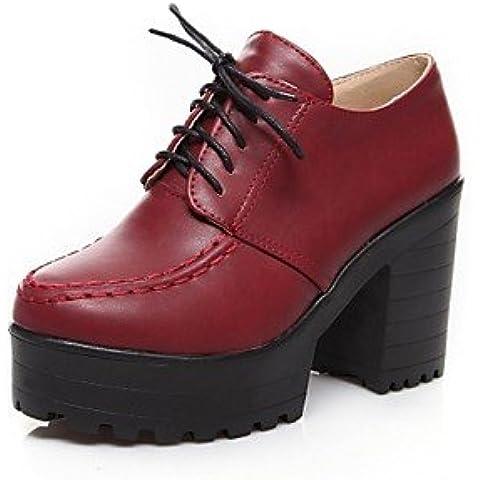 Scarpe donna punta tonda Chunky tacco Scarpe Oxfords più colori disponibili , Black-US7.5 / EU38 / UK5.5 / CN38 , nero-US7.5 / EU38 / UK5.5 / CN38