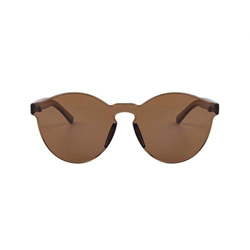 NoyoKere Mode Frauen Mädchen Sonnenbrille Cat Eye Shades Sonnenbrille Integrated Eyewear Candy Farbe UV400 Brown