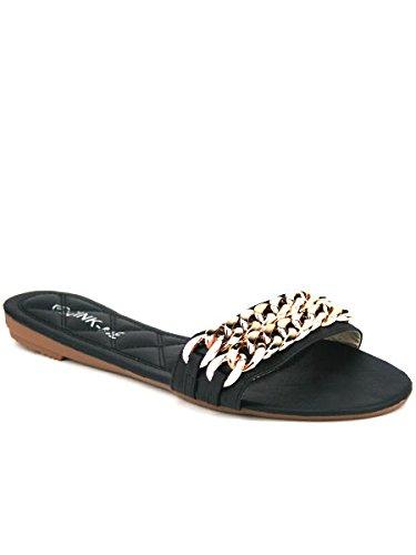 Cendriyon, Sandale simili cuir noire CINK chaîne COCO Chaussures Femme Noir