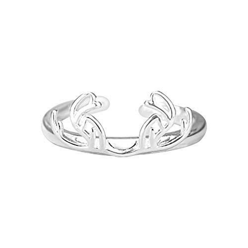 Eudola Damen Ringe Einfaches Geweih Verstellbarer Ring Offener Ring Mode Geschenke für Frauen und Mädchen