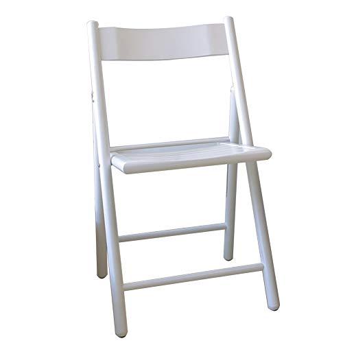 Chaise Fauteuil Siège Chaises Chair Pli en Bois Massif Simple Portable Polissage Lisse Tapis Antidérapant Adulte Tingting (Couleur : Blanc, Taille : 44.5 * 42 * 82cm)