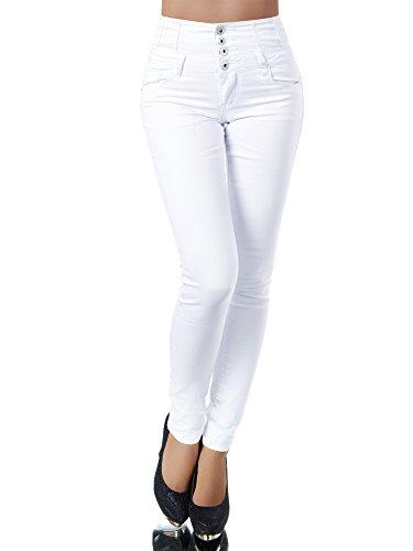 N867 Damen Jeans Hose Corsage Damenjeans High Waist Röhrenjeans Hochbund, Farben:Weiß, Größen:34 (XS)